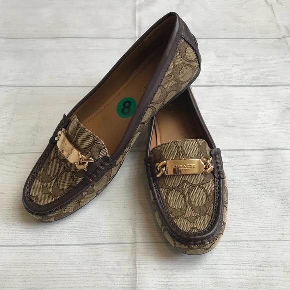 c99cf5be6d9 Coach Shoes - Coach Olive Outline Sig C Jacqrd Khaki Chestnut 8M